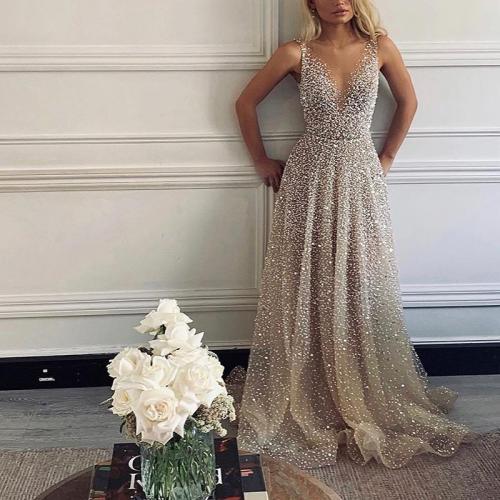 Fashion Sexy Sequined Princess Evening Dress