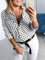 Casual Polka Dot Halflong Sleeve Turndown Collar Shirt