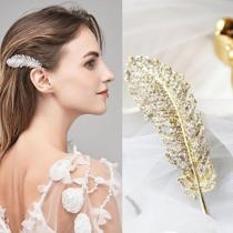 Fashion Rhinestones Luxurious Shiny Hair Clip For Women Girls Feather Hair Crystal Hairpin Styling Accessories For Wedding Party