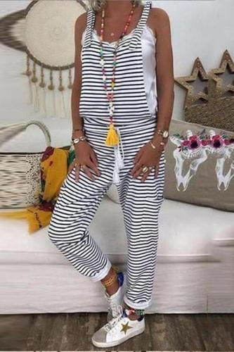 EBUYTIDE Casual Striped Fitted Outdoor Sling Jumpsuit