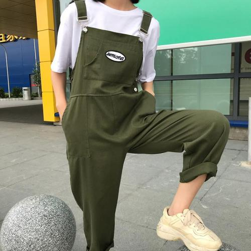 Fashion Pure Colour Splicing Patch Pocket Sleeveless Button Jumpsuit