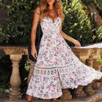 Fashion Lace Splicing Printed Colour Sling Dresses