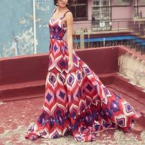 Bohemian Square-Cut Collar Printed Colour Pleated Splicing Dress