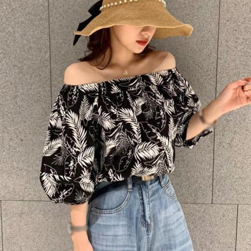 Summer Print Square Collar Short Blouse Women Summer 2020 New Stylish Puff Sleeve Shirts femme Casual Shirt Tops