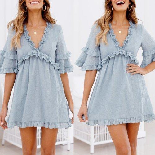 Sexy Light Blue V Neck Short Sleeves Mini Dress