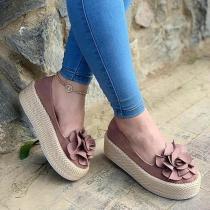 Women's Simple Flower Slip On Platform Loafers