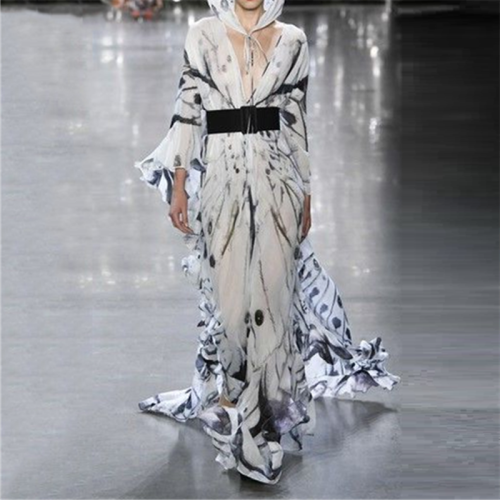 Fashion Deep V Neck Long Sleeve Printing Vacation Dress