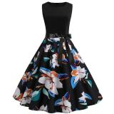 Women 1950s Sleeveless Dresses Retro Polka Dot Floral Music Print A-line Swing Dress