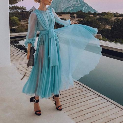 Classy See-Through Thin Section Pleated Dress
