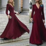 Women Sexy Formal Maxi Dress V Neck Long Sleeve Solid color Bandage Office Ladies Evening Party Prom Gown