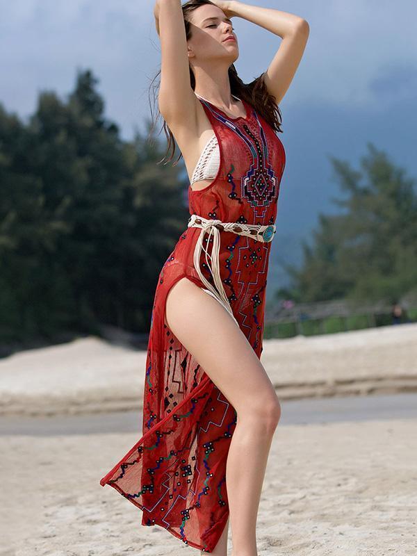 Embroidered Beaded Bohemia Jumper Dress