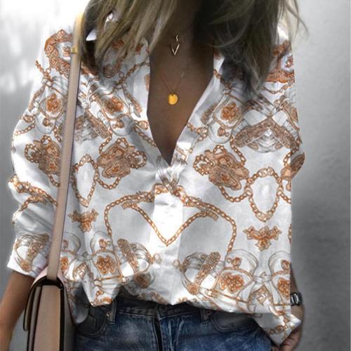 Casual Long Sleeve Printed Colour Loose Shirt