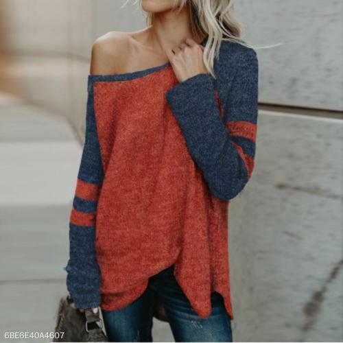 Women Stylish Chic Autumn Sexy Oblique Collar Irregular Knitted Sweatshirts