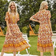 Women'S Printed Floral V-Neck Casual Dress Yellow