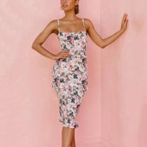 Elegant Floral Print Party Midi Dress
