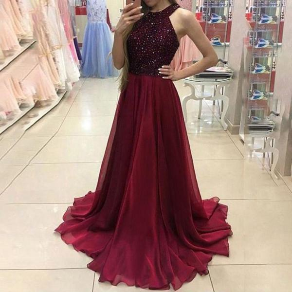 Sexy Round Neck Sleeveless Solid Color Evening Dress