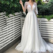 Elegant Deep V Neck See-Through Pearl Floor-Length Evening Dress