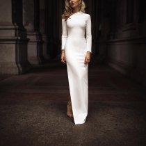 Fashion Solid Color One Shoulder Evening Dress