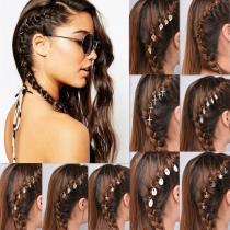 Find Me Braid DIY Hair Clips Alloy Circle Star Cross Shell Leaf Hand Pendant Hairwear Women Fashion Hair Jewelry Accessories