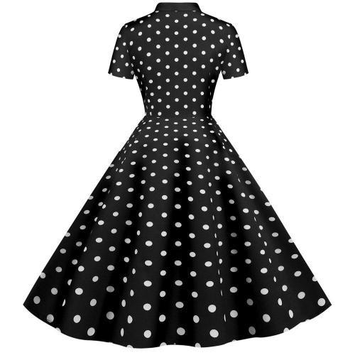 Polka Dot Rockabilly Dress Retro Vintage 50s 60s Pinup Office Dresses Buttons Short Sleeve Women Summer Dress 2020 A Line Party