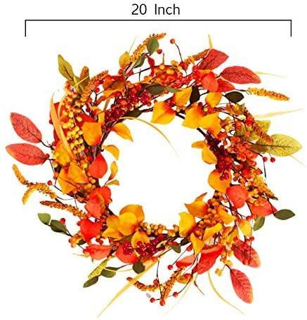 20 inch Artificial Fall Wreath Door Wreath Autumn Wreath Berry Wreath Fall Decorations