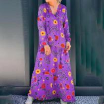 Fashion V-neck Print Stitching Long-sleeved Maxi Dress