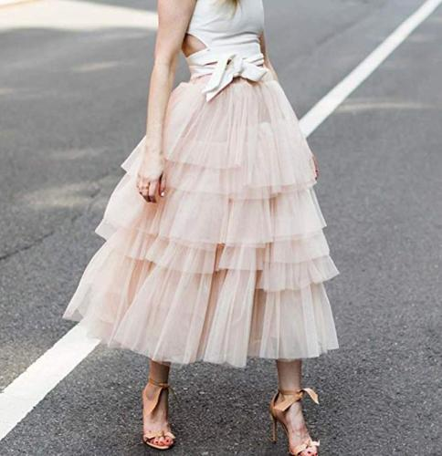 Fashion Casual Pure Color Grenadine Tiered Skirt