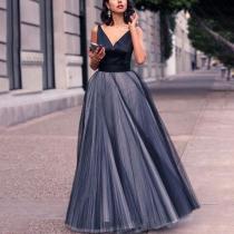 V-Neck Sleeveless Mesh Waist Dress