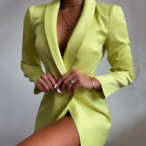 Women's Long Sleeve V-neck Blazer Casual Dress