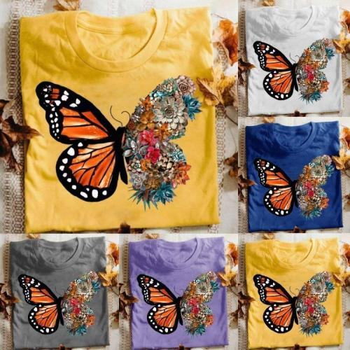 Butterfly Printed Funny Short Sleeve Round Neck Summer T-shirt Top
