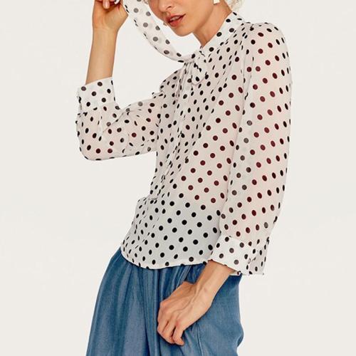 Casual Bow Polka Dot Chiffon Shirt Ladies Blouses