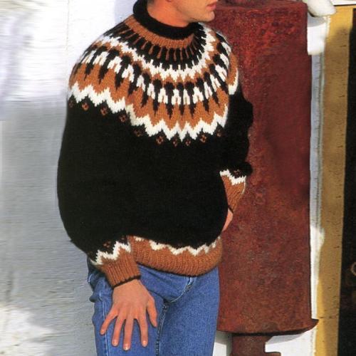 Black casual Icelandic knit sweater TT004