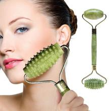 1pc Portable Double Head Facial Slim Massage Roller Jade Face Slimming Body Head Neck Massage Tools Nature Face Sliming Tools