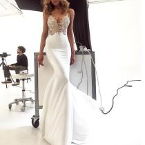 Sexy Lace Slip V-neck White Evening Dress