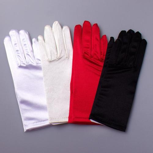 Short Wedding Gloves Finger for Women Wrist Ivory Satin Cuffs Simple Cheap Bridal Glove Luva De Noiva Wedding Accessorie