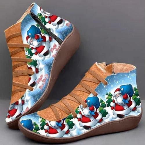 Christmas Flat Heel Casual Women's Boots