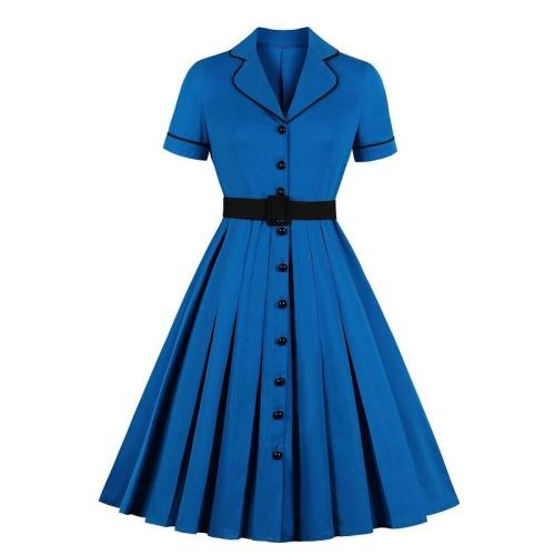 Women Midi Dresses With Belt Summer Retro Vintage Solid Color Short Sleeve Flared A-Line Office Lady Dress