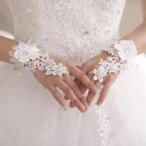 2020 Elegant Lace Short White Fingerless Fashion Flower Girl kid Child Student Party Performance Dancing Wedding Gloves