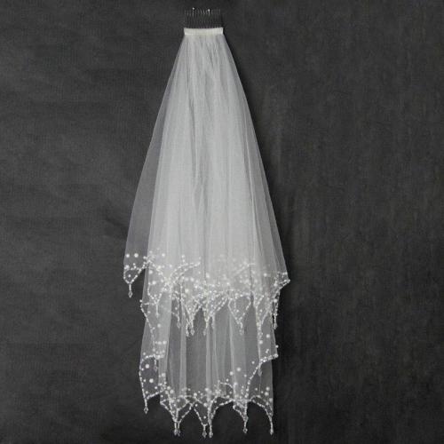 Luxury Wedding Veil With Crystal Edge Short Two Layers White Ivory Tulle Bridal Veil 2020