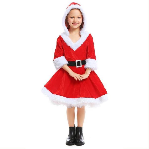 Girls Mrs Claus Costume Santas Little Helper Kids Miss Christmas Dress Outfit