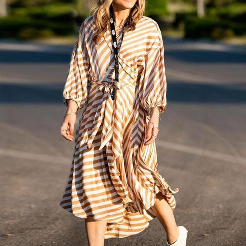 Fashion Striped Irregular Hem Waist Casual Maxi Dress