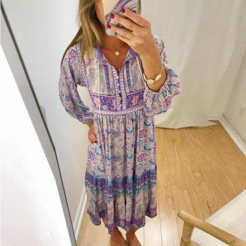 Chic Purple Printed Loose Fairy Dress