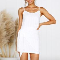 Chiffon Tights Hip Slim Fashion   White Dress