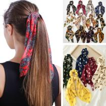 EBUYTIDE Women Vintage Headwear Turban DIY Hair Scrunchies Ribbon Hair Ties Horsetail Ties Elastic Hair Bow Scarf Jewelry