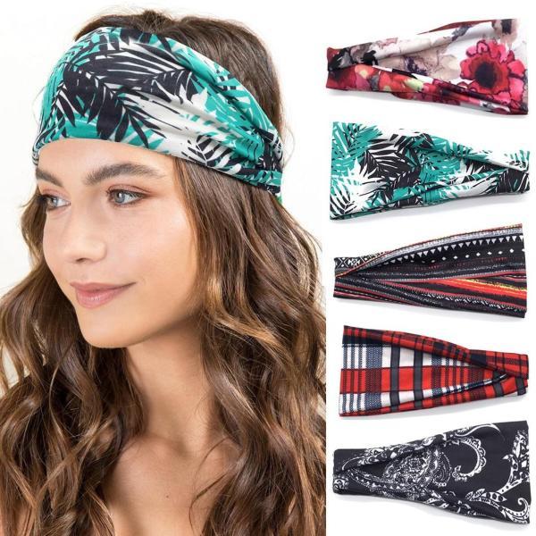 Women Sports Yoga Wide Headband Sweat Band Summer Boho Floral Printed Elastic Hair Bands Turban Ladies Hair Accessories Headwear