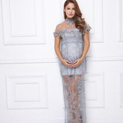 Lace Photography Dress Maternity Off Short sleeve Maxi Dresses Pregnant Women Evening Dresses Photoshoots Mesh Summer Gowns