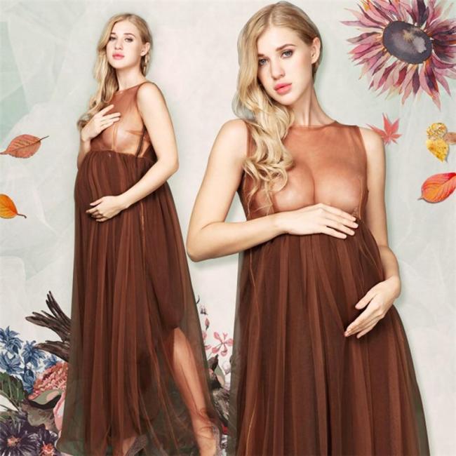 Chiffon Photography Dress Maternity Off Shoulder Maxi Dresses Pregnant Women Evening Dresses Photoshoots Button Summer Gowns