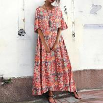 Vacation Loose Vintage Print Half Sleeve Long Dress