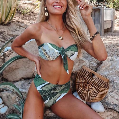 Tropical Leaf Tie-up Bikini Set