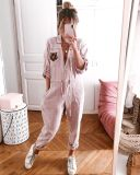 EBUYTIDE New 3/4 Sleeve Pockets Button Jumpsuit